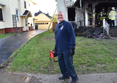 Brian Anten at his last fire on Knickerbocker Ave. on the line...