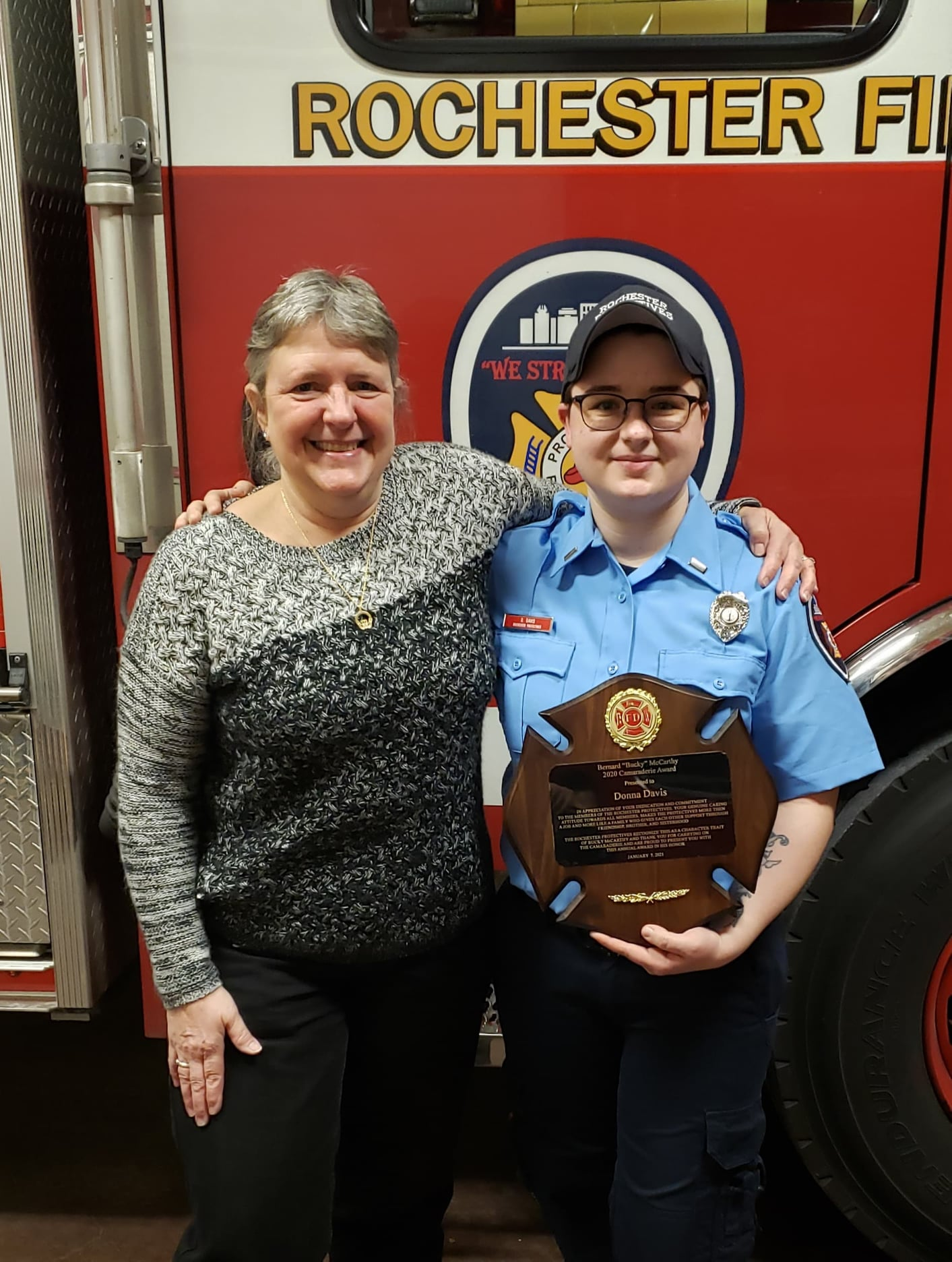 Capt. Donna Davis was awarded the Bucky McCarthy Award by President Laurie Kingsley-Henry